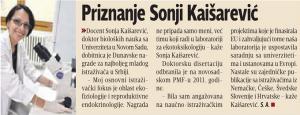 10.06.2014., Блиц: Признање Соњи Каишаревић