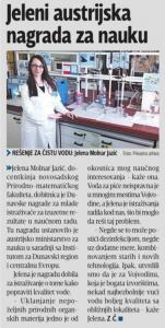 25.08.2016, Блиц: Јелени аустријска награда за науку